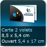 Cartes de visite 2 volets 85 x 54 mm fermé - 170 x 54 ouvert - impression couleur Recto et Verso quadri