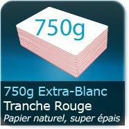 Cartes de correspondance 750g Blanc Pur avec tranche rouge