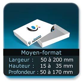 Emballage (Coffret, Boîte, carton, colis et etuis) Largeur de 50 à 200 mm - Hauteur de 15 à 35 mm - Profondeur de 50 à 170 mm