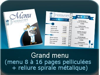 Menus Menu restaurant à anneaux avec pelliculage ou plastification