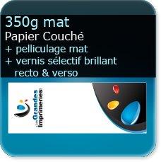 marque page plastifiée 350g mat + pelliculage mat + vernis sélectif R°/V°