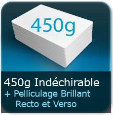 Menus 450g indéchirable + pelliculage brillant recto et verso
