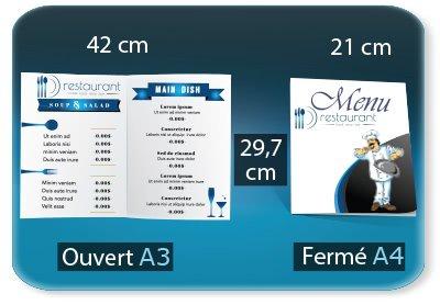 Menus Menu restaurant 2 volets  - A4 21 X 29,7 Cm fermé - A3 29,7 X 42 Cm ouvert - 1 pli (rainage) - impression recto verso
