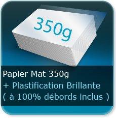 Menus 350g mat + plastification brillant 100% débords inclus (attention la plastifacation a tendance à se décoller au niveau des plis)