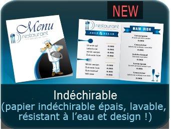 menu restaurant pas chers Menu en papier indéchirable - lavable et résistant à l'eau