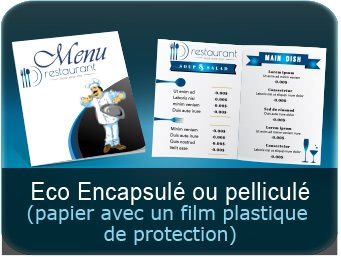 Menus Menu restaurant avec plastifaction ou pelliculage