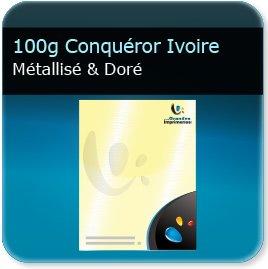 papier a lettre personnalisé 100g Conquéror métallisé Ivoire Doré - Compatible imprimante laser & jet d'encre