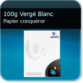 papier a lettre personnalisé 100g Conquéror Vergé Blanc - Compatible imprimante laser & jet d'encre