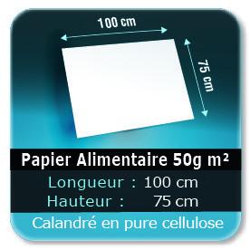 Emballage (Coffret, Boîte, carton, colis et etuis) Papier de 100 x 75 cm - 50g m² -alimentaire calandré en pure cellulose - Sans agent de blanchiment - encres à base d'eau