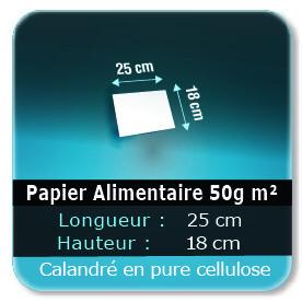 Emballage (Coffret, Boîte, carton, colis et etuis) Papier de 25 x 18 cm - 50g m² -alimentaire calandré en pure cellulose - Sans agent de blanchiment - encres à base d'eau