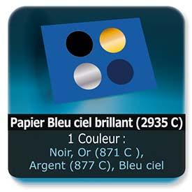 Emballage (Coffret, Boîte, carton, colis et etuis) Papier  Bleu ciel brillant (2935 C) - Impression Recto - Noir ou pantone Or (871 C ) ou Argent (877 C)