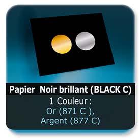 Emballage (Coffret, Boîte, carton, colis et etuis) Papier  Noir brillant (BLACK C) - Impression Recto pantone Or (871 C ) ou Argent (877 C)