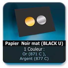 Emballage (Coffret, Boîte, carton, colis et etuis) Papier  Noir mat (BLACK U) - Impression Recto - pantone Or (871 C ) ou Argent (877 C)