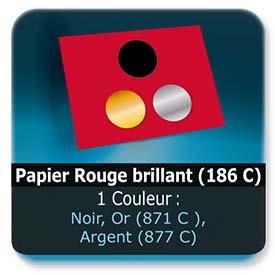 Emballage (Coffret, Boîte, carton, colis et etuis) Papier  Rouge brillant (186 C) - Impression Recto - Noir ou pantone Or (871 C ) ou Argent (877 C)