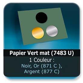 Emballage (Coffret, Boîte, carton, colis et etuis) Papier  Vert mat (7483 U) - Impression Recto - Noir ou pantone Or (871 C ) ou Argent (877 C)