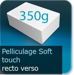 Autocollant & Étiquette 350g couché mat + pelliculage Soft touch recto verso