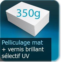 Autocollant & Étiquette 350g couché mat + pelliculage Mat + vernis selectif UV recto verso