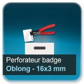 Badge Modèle pour perforation trou oblong de 16x3mm N9222