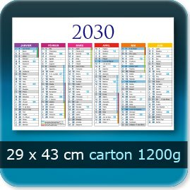 Calendriers 430x290mm carton 1200g
