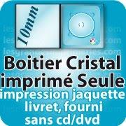CD DVD Gravure & Packaging boitier cristal 10mm imprimée seule sans cd dvd