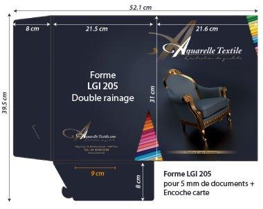 Chemises à rabats forme lgi 205  - 2 rainages (jusqu a 5mm de documents + fente carte de visite