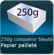 Cartes de visite 250g Conquéror métallisé Blanc Azuré