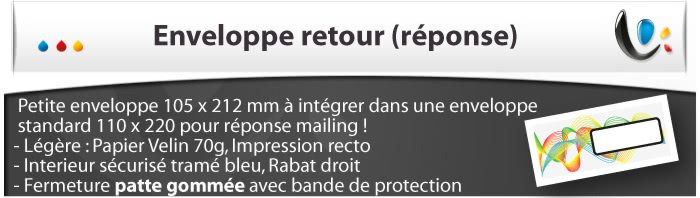 Enveloppes Enveloppe retour (enveloppe réponse)
