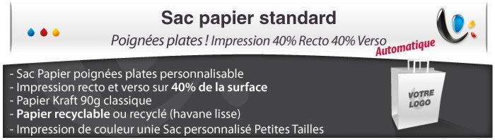 Sac Publicitaire Sac Papier poignées plates - Impression 40% Recto 40% verso