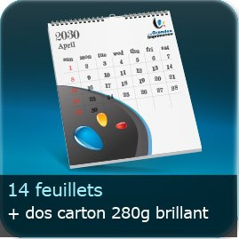 Calendriers 14 feuillets + dos carton blanc 280 gm²