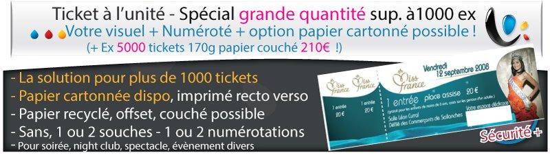 Carnets de tickets Ticket à l'unité securisé (non livré en carnet) standard spécial grande quantité