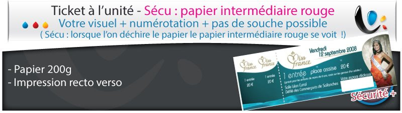 Carnets de tickets Ticket infalsifiable papier rouge
