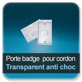 Badge Porte-badge polycarbonate dépoli anti-choc transparent pour badge 86x54mm épaisseur 0,5 ou 0,76mm
