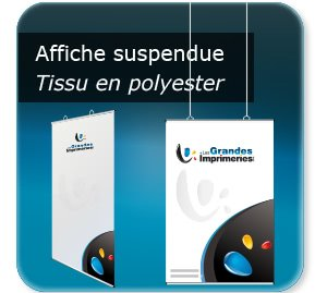 tarif impression affiche Poster textile à suspendre - structure Aluminium - avec oeillets plastiques positionnable