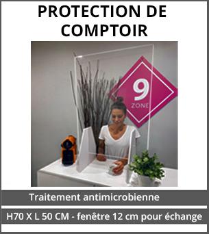 PRODUITS DÉCONFINEMENT Protection de comptoire antimicrobienne Plexiglass 3mm - H70 x L50 cm - Ouverture de 12 cm pour échange - compatible solutions hydro-alcooliques
