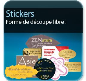 étiquette autocollante Stickers personnalisé découpe forme libre
