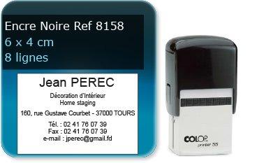 Tampon personnalisé 60x40 mm - 8 lignes max (ref8158) - encre noir - livré avec 1 recharge (ref8330)