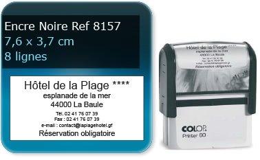 Tampon personnalisé 76x37 mm - 8 lignes max (ref8157) - encre noir - livré avec 1 recharge (ref8320)