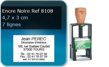 Tampon personnalisé 45x30 mm - 7 lignes max (ref8108) - encre noir - livré avec 1 recharge (ref8230)