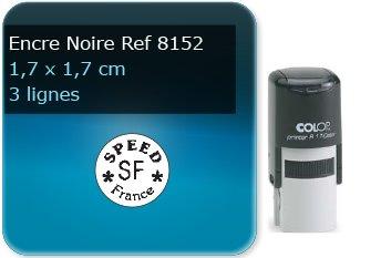 Tampon personnalisé Rond 17 x 17 mm - 3 lignes max (ref8152) - encre noir - livré avec 1 recharge (ref8270)