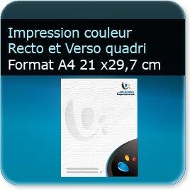 Lettres à en tête A4 21 x 29,7 cm - Impression couleur au Recto et Verso quadri