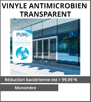 PRODUITS DÉCONFINEMENT Vinyle antimicrobien Transparent monomère HEXISv3000 - Lamination contenant des agents antimicrobiens - réduction bactérienne est sup. à 99,99 pour cent